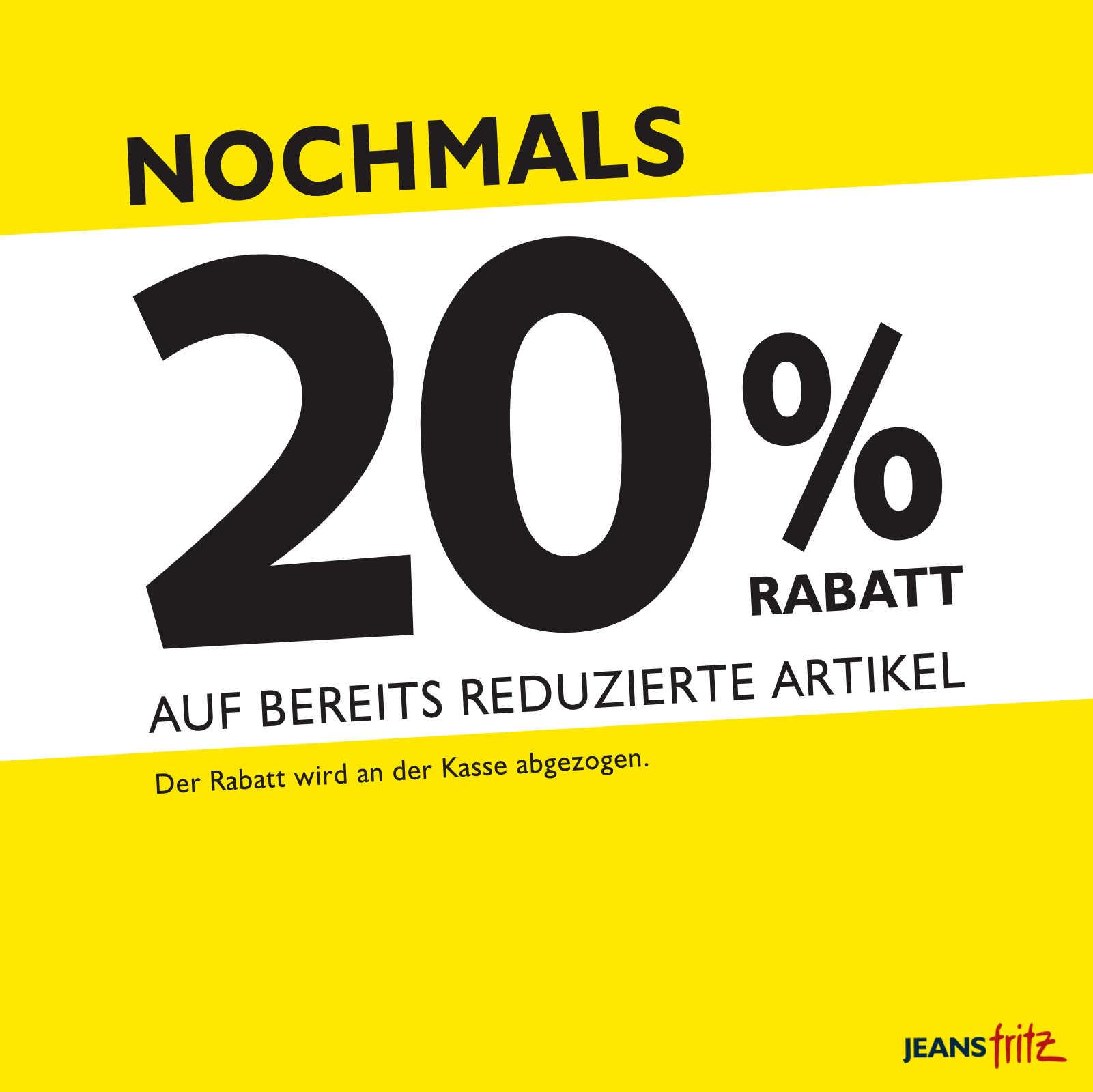20% auf SALE bei Jeans Fritz