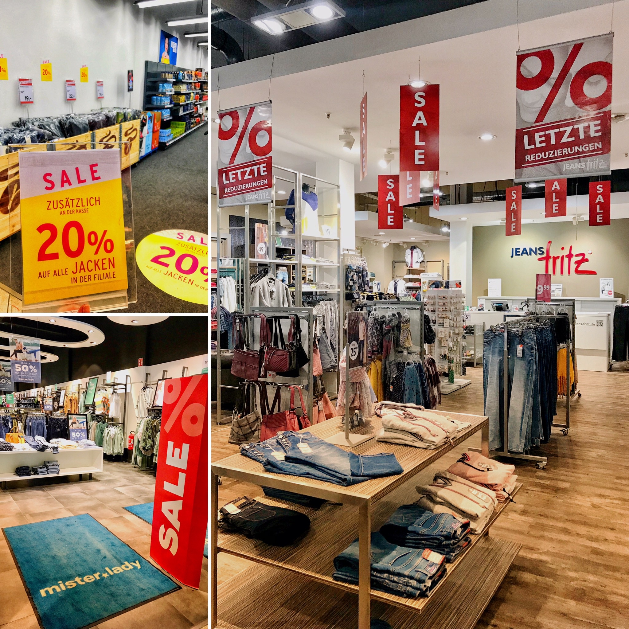 SALE SALE SALE in vielen Geschäften