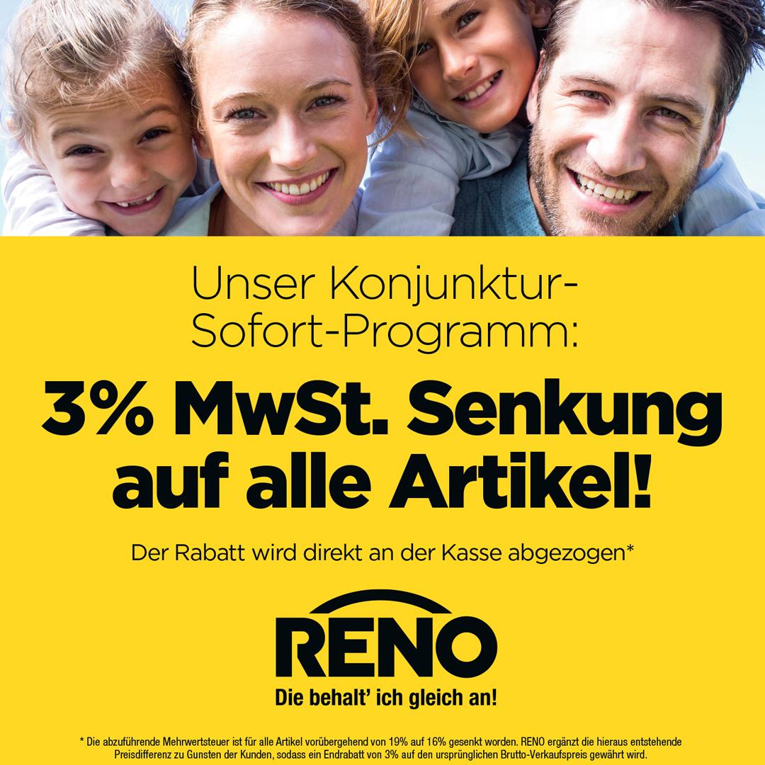 RENO senkt die Mehrwertsteuer!