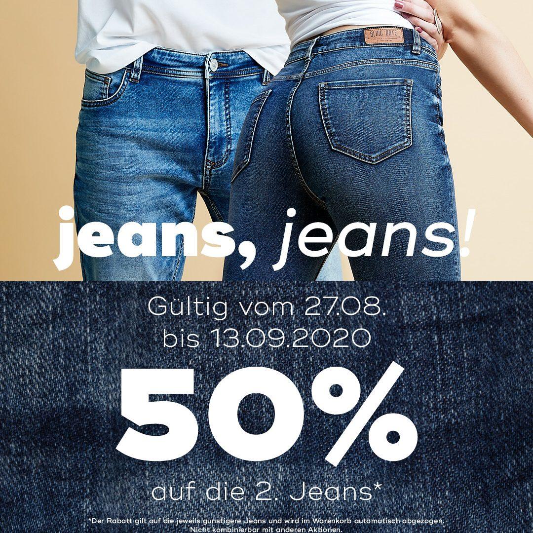 50% Rabatt auf die 2. Jeans bei mister*lady