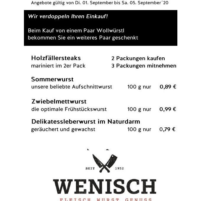 Diese Woche in der Metzgerei Wenisch (31.08.-05.09.2020)