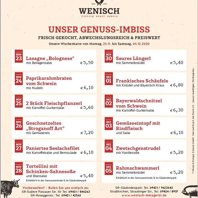 Diese Woche in der Metzgerei Wenisch (23.11.-28.11.2020)