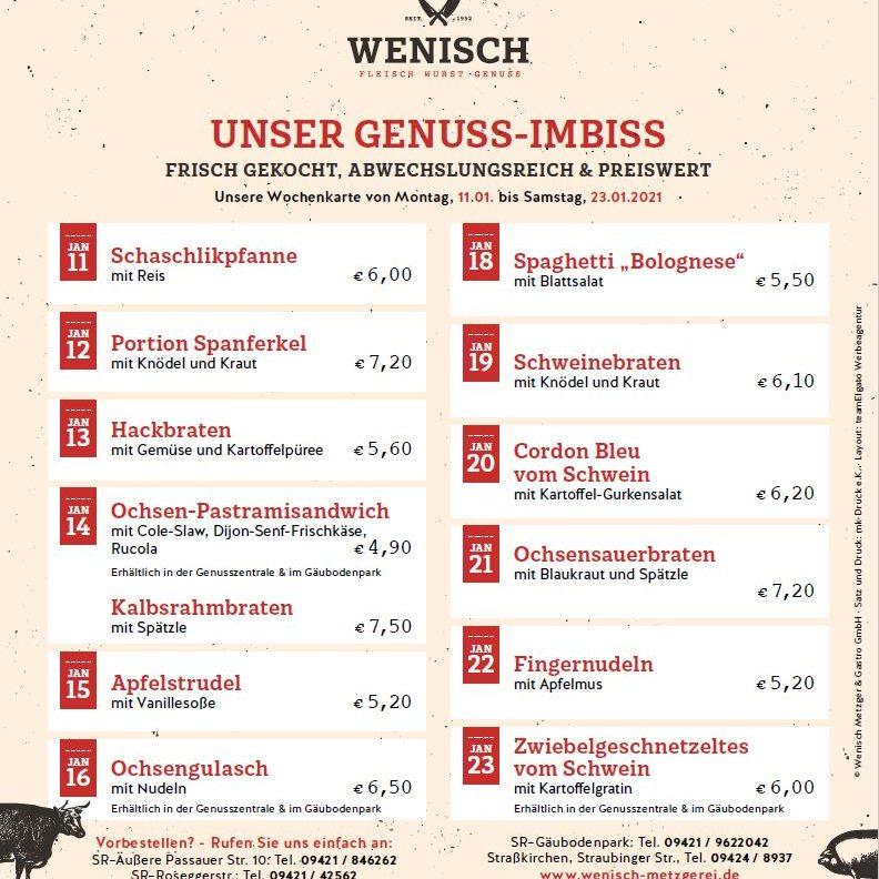 Diese Woche in der Metzgerei Wenisch (11.01.-.16.2021)