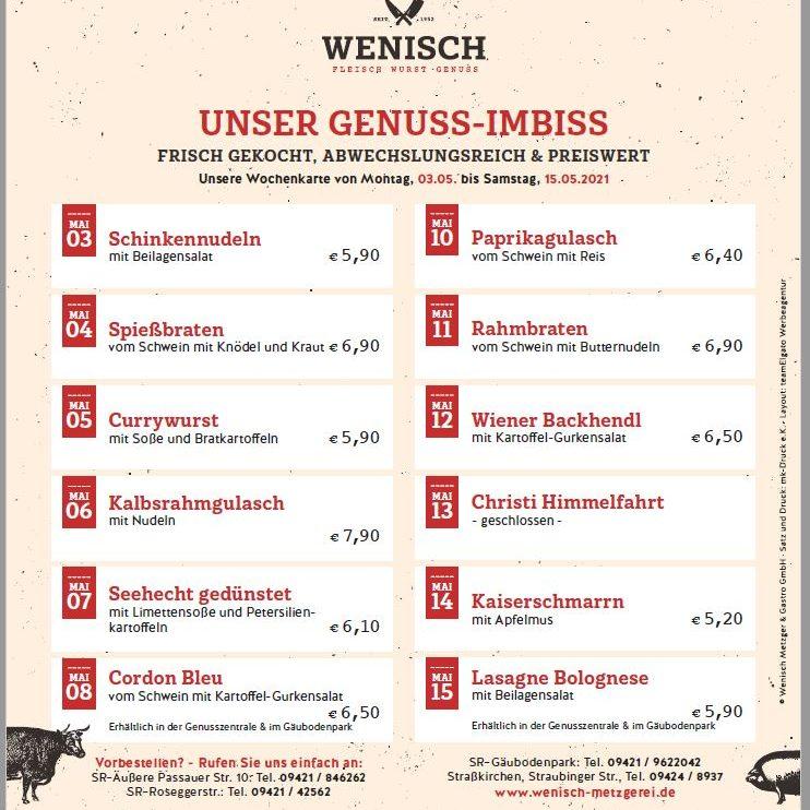 Diese Woche in der Metzgerei Wenisch (03.05.-08.05.2021)