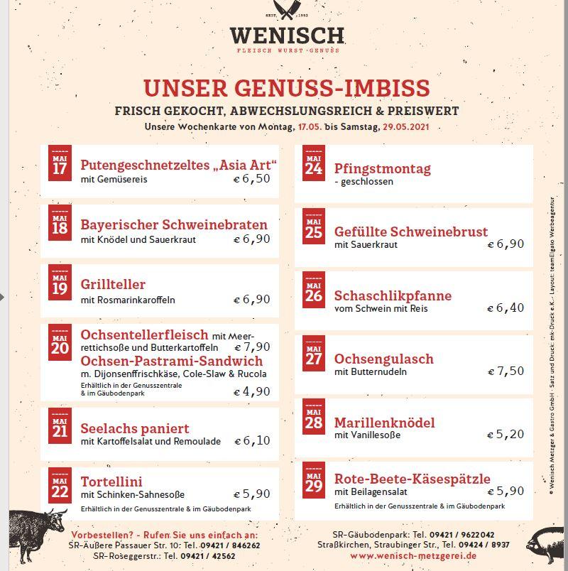 Diese Woche in der Metzgerei Wenisch (17.05.-22.05.2021)